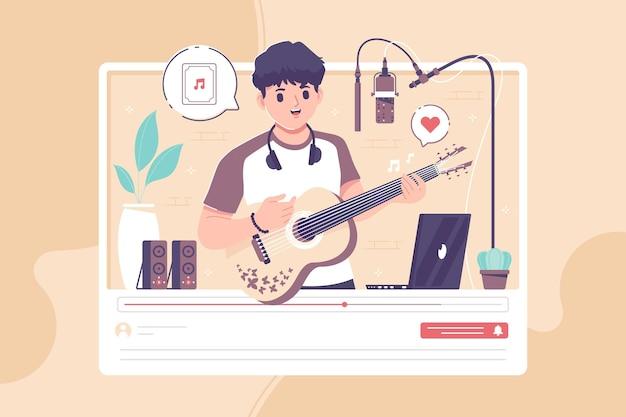 La chitarra acustica copre lo sfondo dell'illustrazione
