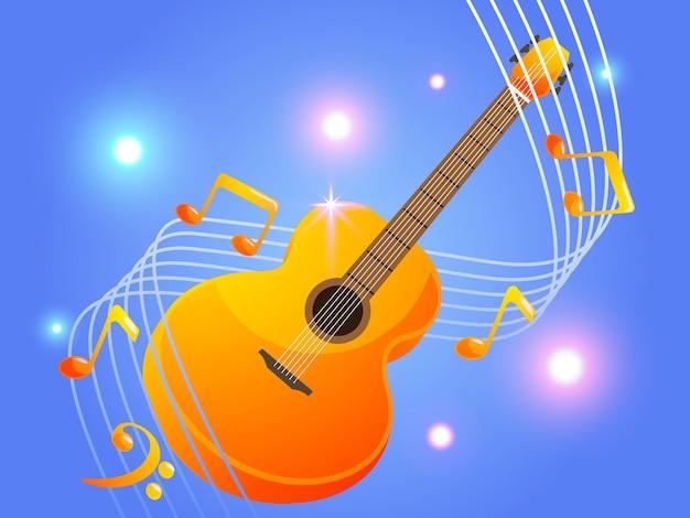 Chitarra acustica con eleganti note musicali musica