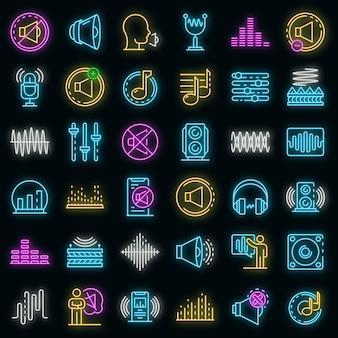 Set di icone di acustica. delineare il set di icone vettoriali per l'acustica colore neon su nero