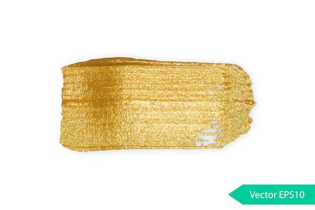 Vernice acrilica texture stane dub tratto di pennello acrilico dorato forma grunge isolata spruzzata di olio d'oro