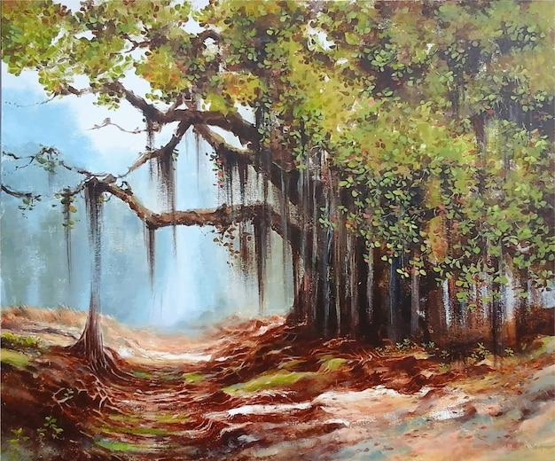 Paesaggio della natura della pittura disegnata a mano di colore acrilico