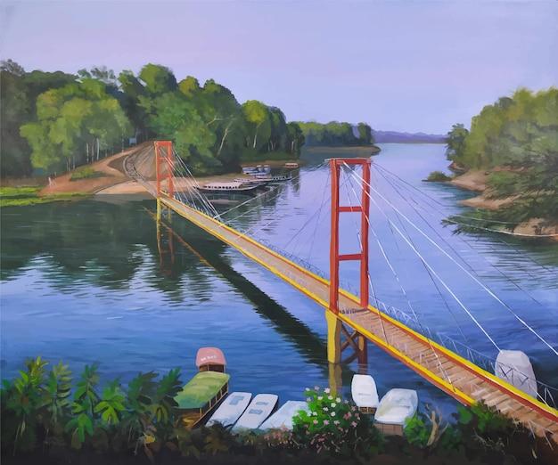 Ponte sospeso con vista sul fiume e sulla montagna di colore acrilico con illustrazione del paesaggio della natura della foresta