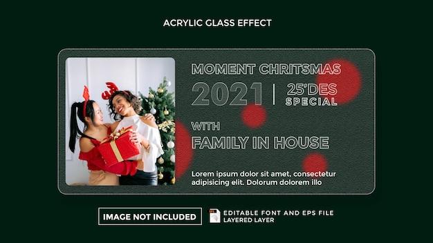 Effetto vetro acrilico con il tema della felicità familiare a natale