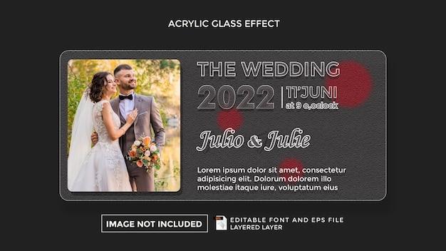 Effetto vetro acrilico con tema matrimonio
