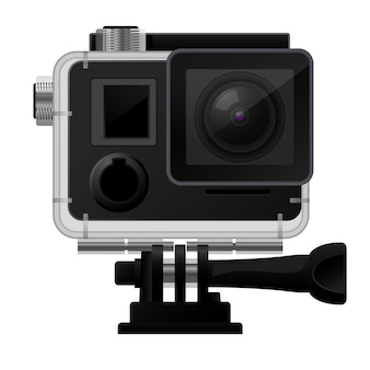 Action camera in custodia impermeabile - icona cam sportiva