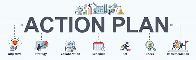 Icona di web del banner di piano d'azione per affari e marketing.