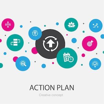 Modello di cerchio alla moda del piano d'azione con icone semplici. contiene elementi come miglioramento, strategia, implementazione, analisi