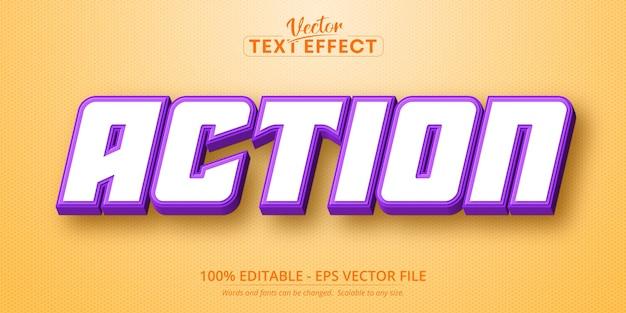 Effetto testo modificabile in stile cartone animato di azione testo