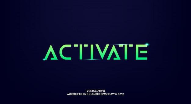 Attiva, un carattere futuristico astratto di alfabeto di fantascienza con tema tecnologico. moderno design tipografico minimalista