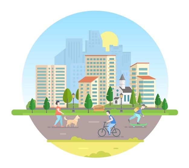 Cittadini attivi - illustrazione vettoriale moderna in una cornice rotonda. bella città su sfondo bianco con una strada, chiesa, lanterne, panchina, edifici, alberi. persone con cane, bicicletta, skateboard