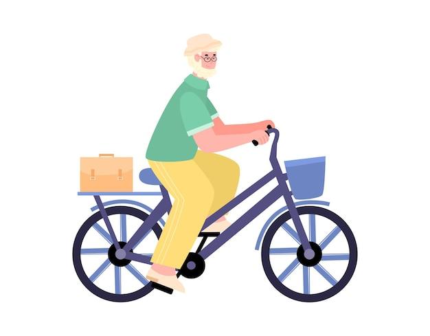 L'uomo anziano attivo prende un'illustrazione di vettore del fumetto di giro in bicicletta isolata
