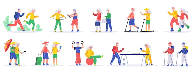 Illustrazione di persone anziane attive