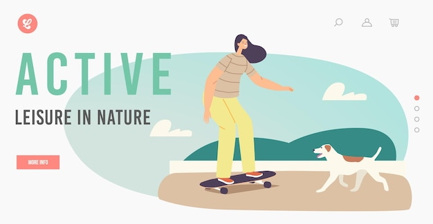 Tempo libero attivo nel modello di pagina di destinazione della natura. skateboard di guida della ragazza nel parco della città. skateboarder personaggio femminile all'aperto attività, ricreazione sportiva con il cane. fumetto illustrazione vettoriale