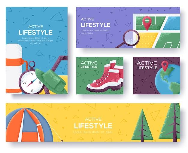 Banner di stile di vita attivo.