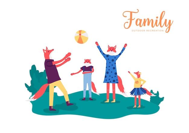 Genitori attivi con bambini si lanciano una palla l'un l'altro nel prato. la famiglia fox gioca a giochi sportivi.