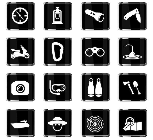Icone vettoriali di ricreazione attiva per la progettazione dell'interfaccia utente