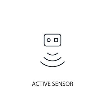 Icona della linea del concetto di sensore attivo. illustrazione semplice dell'elemento. disegno di simbolo di struttura del concetto di sensore attivo. può essere utilizzato per ui/ux mobile e web
