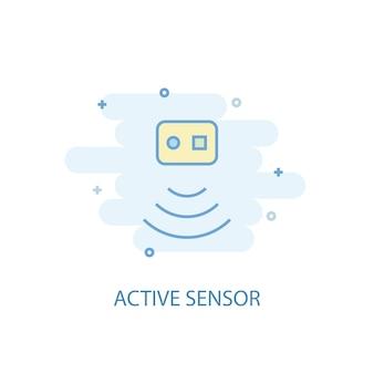 Concetto di linea di sensori attivi. icona della linea semplice, illustrazione colorata. design piatto simbolo del sensore attivo. può essere utilizzato per ui/ux