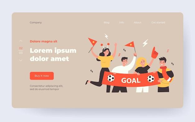 Fan di calcio attivi che tengono l'illustrazione piana di vettore isolata bandiera. cartoon gruppo di personaggi tifo squadra sportiva e urlando durante la partita. concetto di intrattenimento e celebrazione