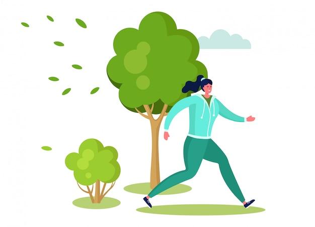 Illustrazione attiva della gente di sport, funzionamento felice del carattere della donna del fumetto, facendo allenamento all'aperto nel parco di estate su bianco