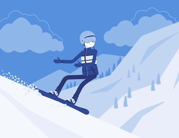 Uomo sportivo attivo in sella allo snowboard, goditi il divertimento invernale all'aperto sulla stazione sciistica con una splendida natura innevata e vista sulle montagne, turismo invernale e attività ricreative