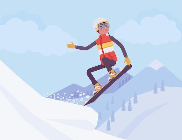Uomo sportivo attivo cavalcando uno snowboard