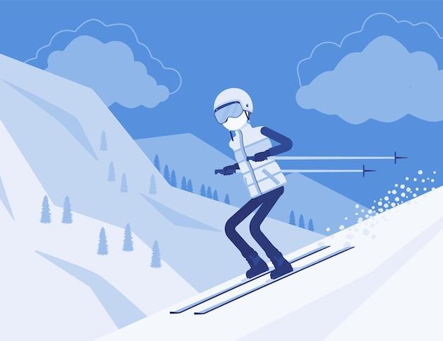 Uomo sportivo attivo che scia in discesa, goditi il divertimento invernale all'aperto in località con una bellissima natura innevata, vista sulle montagne, turismo invernale professionale, attività ricreative