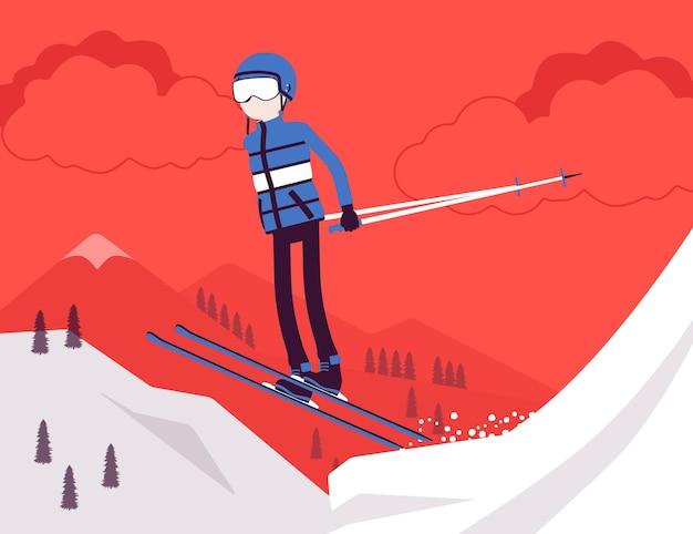 Uomo sportivo attivo che scia, salta e goditi il divertimento invernale all'aperto sul resort con una bellissima natura innevata, vista sulle montagne, turismo invernale professionale, attività ricreative