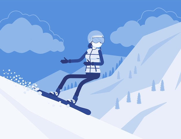 Donna sportiva attiva in sella allo snowboard, goditi il divertimento invernale all'aperto sulla stazione sciistica con una bellissima natura innevata, vista sulle montagne, turismo invernale e attività ricreative