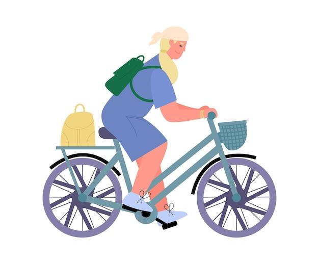 Donna attiva che viaggia sull'illustrazione piana di vettore del fumetto della bicicletta isolata