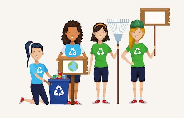 Attivisti che puliscono i personaggi delle campagne