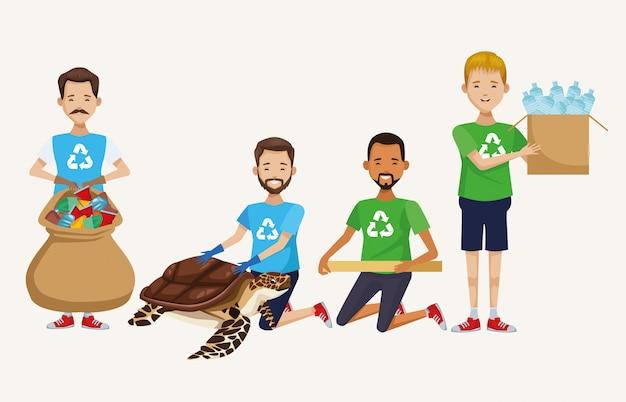 Attivisti che puliscono campagne e tartarughe marine