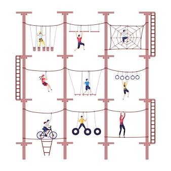 I bambini di attività nell'avventura estrema fune il parco con l'attrezzatura rampicante nell'illustrazione di scalata del fumetto di infanzia.