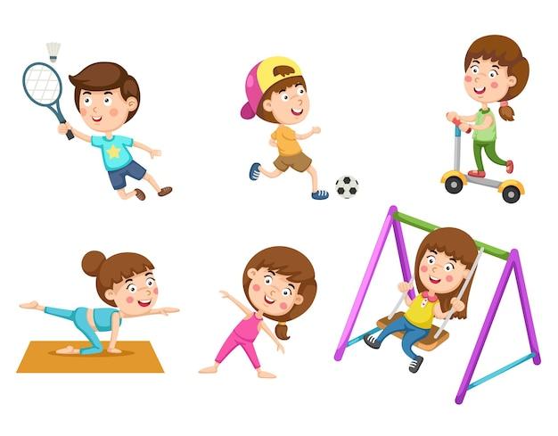 Insieme di attività infanzia sana