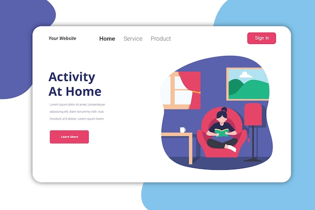 Attività a casa landing page illustration template design piatto