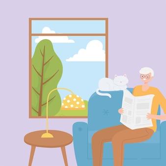 Anziani di attività, uomo anziano felice che si siede sulla sedia che legge il giornale con il suo gatto vicino all'illustrazione della finestra