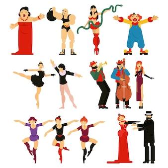 Carattere di attore o attrice attore che suona spettacolo di intrattenimento musicale in teatro opera illustrazione set di ballerina danza balletto e clown uomo forte isolato su sfondo bianco