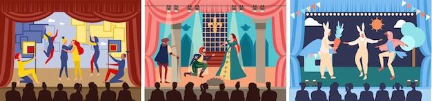 Attori sull'illustrazione del palcoscenico teatrale, recitazione del personaggio dei cartoni animati o scena di spettacoli teatrali in teatro, set di spettacoli teatrali