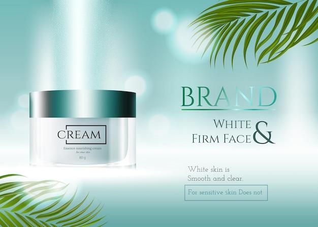 Banner pubblicitario per prodotti per la cura della pelle di bellezza naturale decorato con effetto verde e foglie naturali
