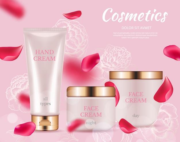 Modello di poster cosmetici ad. confezione crema realistica, petali di rose volanti.