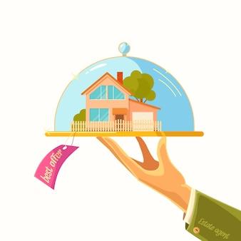 Il poster pubblicitario. vendita di immobili. illustrazione.