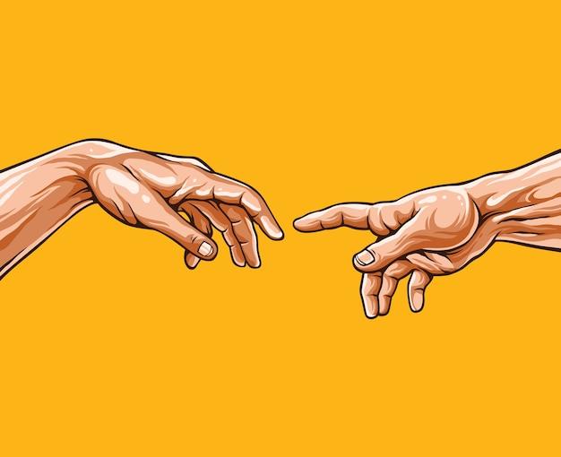 Mani di adam. Vettore Premium