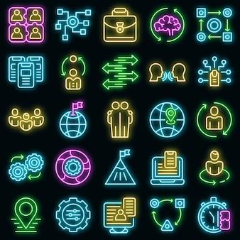 Set di icone di adattamento neon vettoriale