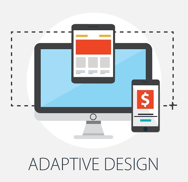 Web design reattivo adattivo su diversi dispositivi