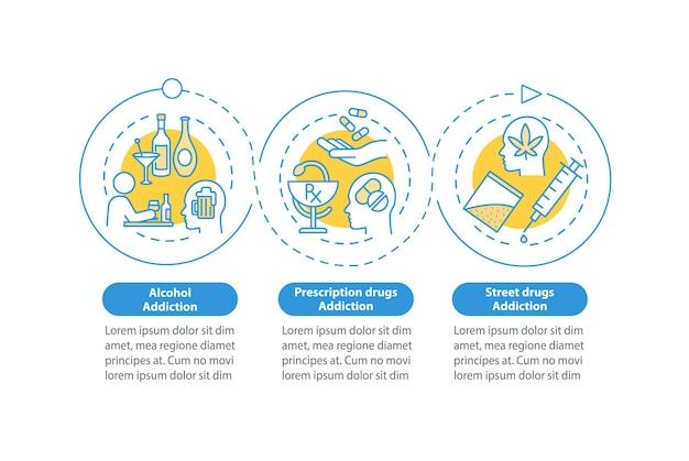 Tipi di dipendenza modello infografico vettoriale. elementi di design del profilo di presentazione della tossicodipendenza. visualizzazione dei dati con 3 passaggi. grafico delle informazioni sulla sequenza temporale del processo. layout del flusso di lavoro con icone di linea