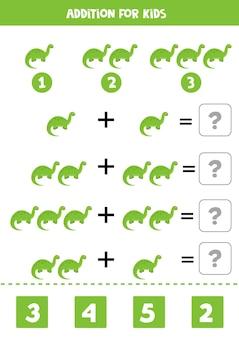 Gioco aggiuntivo con diversi dinosauri. gioco di matematica educativo per bambini.