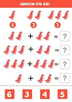 Gioco aggiuntivo con dinosauro tirannosauro gioco matematico per bambini