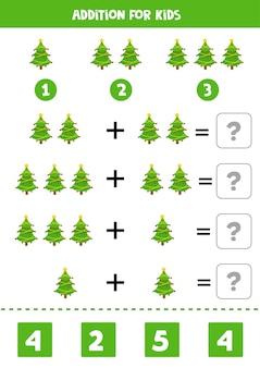 Aggiunta per bambini con graziosi alberi di natale. gioco di matematica educativo per bambini.