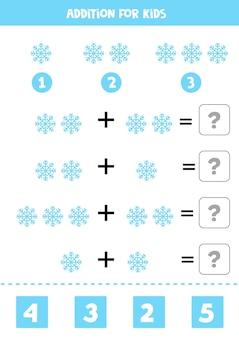 Aggiunta con fiocco di neve blu. gioco di matematica educativo per bambini.