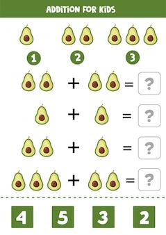 Aggiunta con avocado simpatico cartone animato. gioco di matematica.